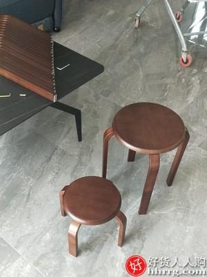 interlace,1# - 心家宜家用实木凳子,四脚原木小圆凳
