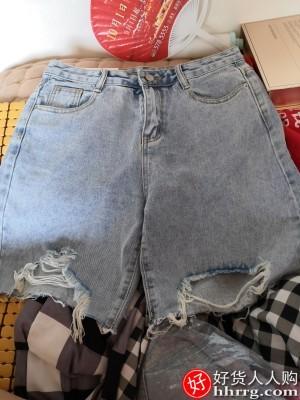 五分骑行裤牛仔短裤女,夏季薄款浅色破洞高腰宽松阔腿中裤