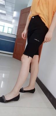 黑色牛仔短裤女,高腰紧身直筒五分裤
