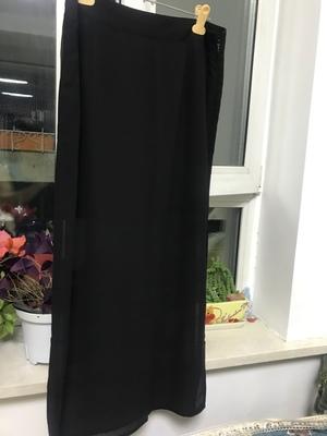 夏季黑色雪纺半身裙,垂感高腰长裙侧开叉包臀裙