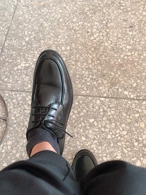 红蜻蜓真皮男鞋,商务正装圆头系带皮鞋