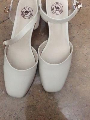 骆驼高跟鞋女鞋,百搭粗跟包头女单凉鞋