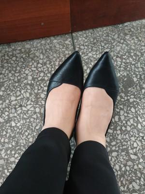 大东欧美细跟套脚尖头高跟鞋,两穿气质纯色职场黑色