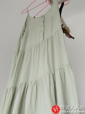 红豆吊带睡裙,夏季纯棉家居服睡衣裙薄款