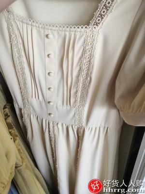三彩方领桔梗法式连衣裙,雪纺泡泡袖短袖复古公主裙