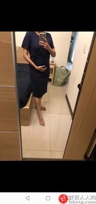 纯棉宽松休闲开叉短袖t恤裙,大码过膝蛋黄长裙