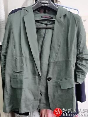 棉麻小西装外套,薄款亚麻七分袖西服