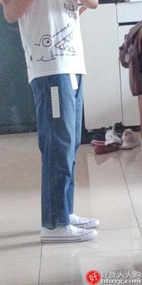 优衣库男士宽腿窄口牛仔裤,男士中帮马丁靴