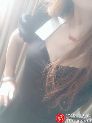 黑色开叉方领连衣裙,系带粗跟乐福鞋高跟鞋