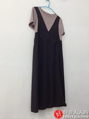 假两件背带连衣裙,长袖休闲拼接裙子