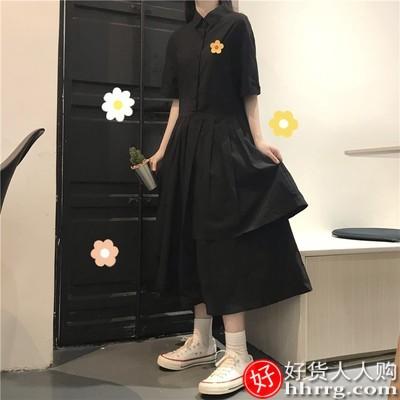 少女长袖连衣裙,韩版夏天森系长裙子