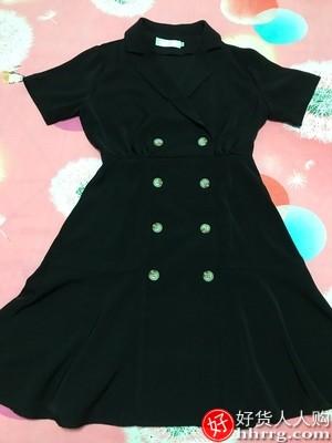 双排扣西装连衣裙,职业装赫本风小黑裙