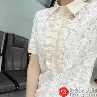 娃娃领小个子蕾丝连衣裙,白色气质短款裙子