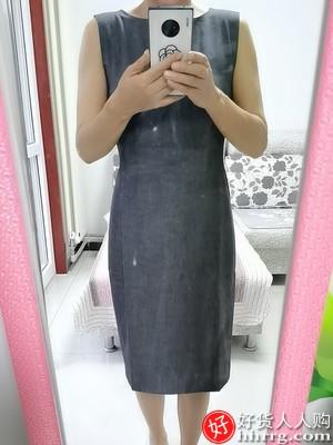 罗衣知性OL中裙,修身包臀灰色无袖通勤连衣裙