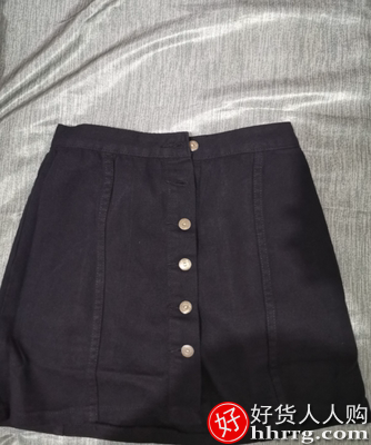 interlace,1# - 春暮黑色牛仔半身裙,高腰春秋a字裙短裙