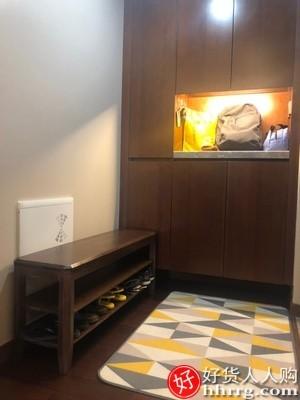 interlace,1# - DHP家用门口实木鞋柜,室内好看收纳省空间多层经济型简易可坐放鞋架子