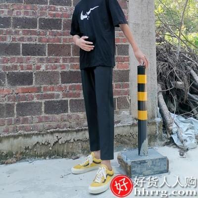 interlace,1# - 小西裤男垂感九分裤,夏季韩版修身小脚休闲裤男士直筒西装裤