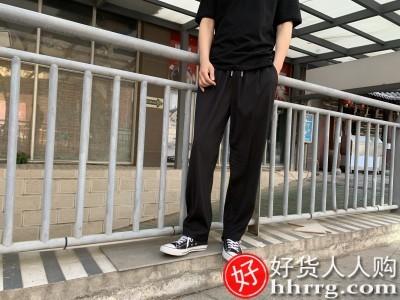 interlace,1# - 威廉马奇垂感男士西裤,直筒宽松阔腿休闲春秋长裤夏季黑色坠感西装裤