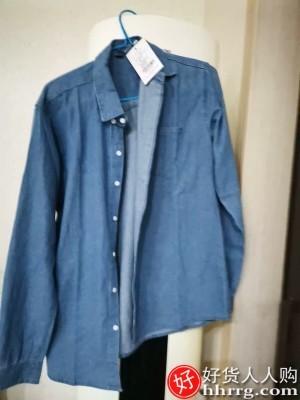interlace,1# - 长袖牛仔衬衫男,韩版男装工装衬衣宽松日系夏季休闲外套
