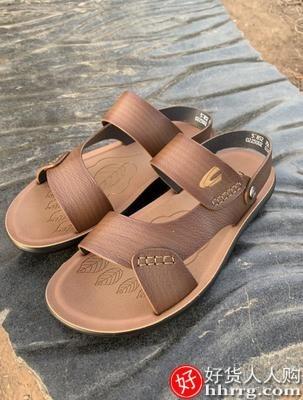 interlace,1# - 动感骆驼男士凉鞋,真牛皮沙滩鞋软皮拖鞋休闲爸爸父亲凉鞋