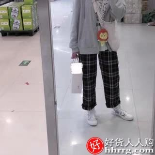 interlace,1# - 黑白格子裤子运动裤女,新款夏高腰垂感宽松直筒休闲阔腿裤