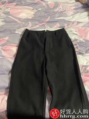 interlace,1# - 小个子阔腿西装裤女,直筒宽松高腰显瘦坠垂感黑色拖地加厚长裤