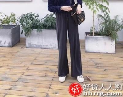 interlace,1# - 夏季高腰垂感阔腿裤女,宽松拖地裤冰丝显瘦薄款铜氨丝直筒长裤