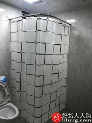 interlace,1# - 浴帘套装免打孔浴室弧形杆,淋浴卫生间u型洗澡防水布L形隔断挂帘子