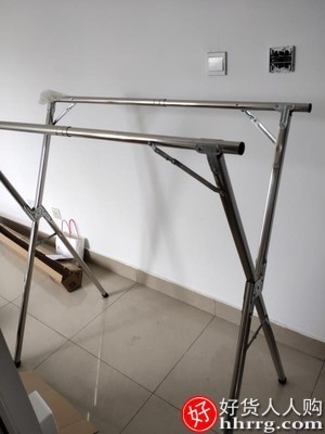 interlace,1# - 南极人落地折叠晾衣架,室内阳台晒被子不锈钢置地双杆免安装衣杆