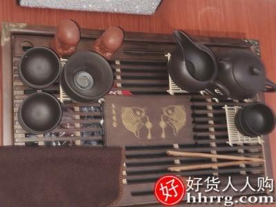 interlace,1# - 旧望格紫砂陶瓷功夫茶具套装,家用茶杯简约办公实木小茶盘抽屉式茶台整套