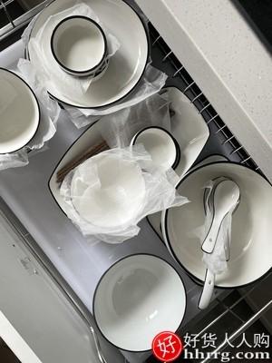 interlace,1# - 墨色陶瓷餐具套装日式碗碟套装,家用北欧风简约现代碗盘子碗筷组合