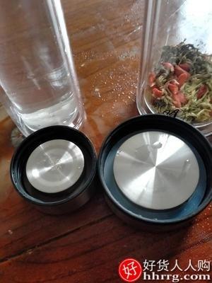 interlace,1# - 明霞双层玻璃杯,家用水杯便携透明带盖茶水分离泡茶杯