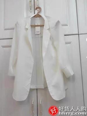 interlace,1# - 文婉雪纺小西装女,春夏季白色西服上衣薄款垂感设计感小众外套