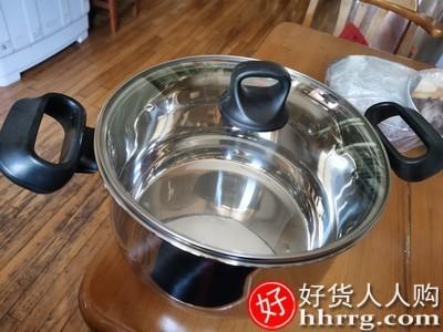 interlace,1# - 华际达汤锅304不锈钢加厚家用煮锅,蒸煮炖粥面奶锅燃气电磁炉煮锅