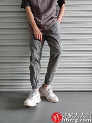 interlace,1# - 尚雅酷男士牛仔裤,宽松夏季薄款九分束脚哈伦休闲裤子
