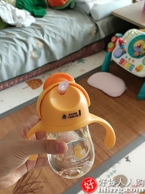 interlace,1# - 丸丫PPSU儿童婴儿吸管式学饮杯,小黄鸭嘴杯喝水杯两用带手柄奶瓶