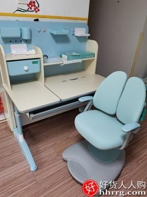 interlace,1# - 黑白调儿童学习桌小学生书桌,可升降实木课桌家用学生写字桌椅套装