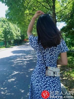 interlace,1# - 问妍钟楚曦同款碎花连衣裙,春夏气质雪纺方领茶歇裙法式长裙