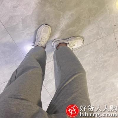 interlace,1# - 糖台灰色运动裤女,阔腿休闲裤宽松束脚小个子工装卫裤