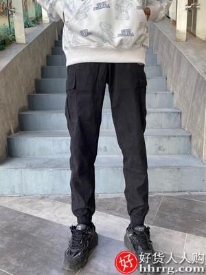 interlace,1# - H-75男士工装裤,春秋夏季九分宽松百搭束脚休闲长裤