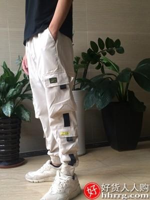 interlace,1# - 鄂东狼工装裤男,韩版宽松束脚机能裤秋季百搭休闲长裤子